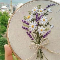 Embroidery hoop artwork present for her / Hand embroidered lavender house ornament / Framed botanical wall artwork / Floral hand stitched room decor -. flowers Embroidery hoop artwork present for her / Hand embroidered lavender house ornament / F. Embroidery Stitches Tutorial, Embroidery Flowers Pattern, Simple Embroidery, Embroidery Hoop Art, Crewel Embroidery, Hand Embroidery Designs, Embroidery Patterns Free, Vintage Embroidery, Ribbon Embroidery