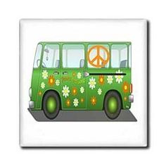 """1960s Hippie Van With Peace Sign n Message - 12 Inch Ceramic Tile by 3dRose. $22.99. Clean with mild detergent. Construction grade. Floor installation not recommended.. High gloss finish. Dimensions: 12"""" H x 12"""" W x 1/4"""" D. Image applied to the top surface. 1960s Hippie Van With Peace Sign n Message Tile is great for a backsplash, countertop or as an accent. This commercial quality construction grade tile has a high gloss finish. The image is applied to the top ..."""