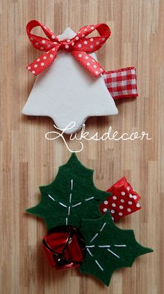 Christmas White Bell Hair Clip and Felt green holly Leafs Hair Clip with red Bell - https://www.facebook.com/Luksdecor