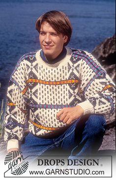 """DROPS 28-14 - DROPS men's jumper with geometrical pattern in """"Alaska"""". - Free pattern by DROPS Design"""