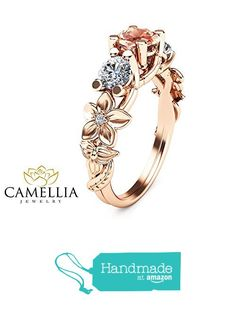 Peach Pink Morganite Engagement Ring in 14K Rose Gold Flower & Leaf Design Ring Nature Inspired 3 Stone Ring Unique Promise Diamond Band from Camellia-Jewelry http://www.amazon.com/dp/B01AI4QXSU/ref=hnd_sw_r_pi_dp_GxBoxb14050M7 #handmadeatamazon