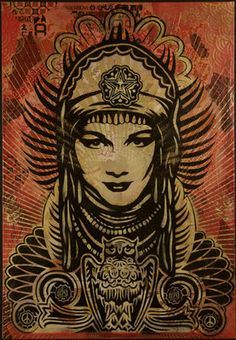 Shepard Fairey peace goddess canvas