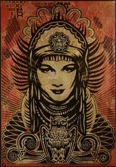 Shepard Fairey peace goddess canvas