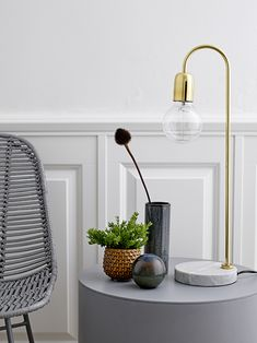 Add effortless style to your work space with this Marble/Brass table lamp from Bloomingville. Made from metal with a brass finish, it is enhanced with a contrasting marble base for an unexpected twist Lighting Inspiration, Lamp, Decor, Table, Metal Table Lamps, Art Chair, Metal Chairs, Lighting Trends, Gold Lamp
