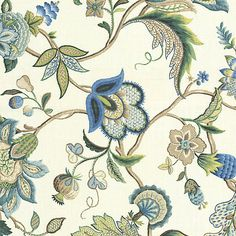 Blue Jacobean Floral Linen Fabric 18in