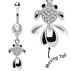 Inspiration Dezigns Belly Button Navel Curved Barbell Ring Electro Skeletal Seahorse Surgical Steel Dangle 14G