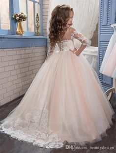 Kids Flower Girls Dresses for Weddings 2017 Pentelei with Illusion Long Sleeves and Strapless Tulle Blush Floor Length Little Girls Gowns