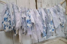 Tattered fabric garland French blue white handmade salvaged romantic very full shabby chic wall decor handmade Anita Spero Shabby Chic Garland, Lace Garland, Blue Shabby Chic, Shabby Chic Wall Decor, Fabric Garland, Garland Wedding, Wedding Decoration, Wedding Photo Props, Linens And Lace