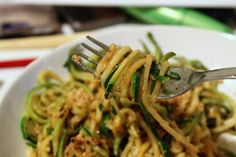 zucchini noodles in oil and garlic