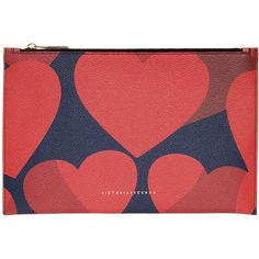 VICTORIA BECKHAM Simple Hearts Pouch ($422) ❤ liked on Polyvore featuring bags, handbags, clutches, victoria beckham purses, victoria beckham handbags, red heart purse, zip pouch and red purse