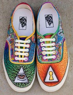 colorful, psychedelic custom Vans