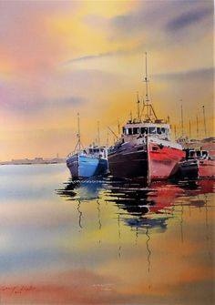 Buy art materials at discount prices, with unbeatable service and worldwide delivery. Watercolor Water, Watercolor Landscape, Abstract Landscape, Seascape Paintings, Oil Painting Abstract, Landscape Paintings, Boat Drawing, Drawing Art, Sailboat Painting