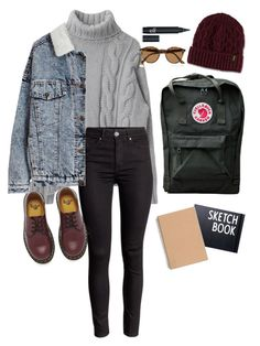 """Eva (Skam)"" by katblack0 ❤ liked on Polyvore featuring Dr. Martens, Fjällräven, Design Letters and Ray-Ban"