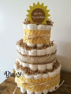 You Are My Sunshine 3 Tier Yellow Diaper Cake Baby Shower by BuzzyDiaperCakes by pearl