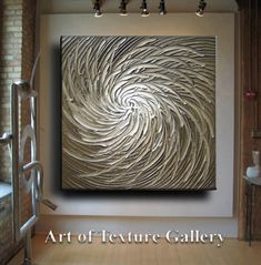 Huge Large Original Abstract Texture Modern White Beige Brown Silver Gray Floral Carved Sculpture Knife Oil Painting by Je Hlobik. $248.99, via Etsy.