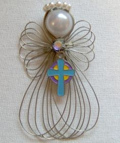 Cross Religious Angel Ornament Handmade