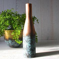 copper and verdigris bottle vase by london garden trading | notonthehighstreet.com