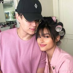 #Repost from @mickeysee with @regram.app ... Yung dinaan lang tayo sa pink rollers ni Hopie.💖Life is unfair.💘 #LizQuen 💏 Enrique Gil, Liza Soberano, Jadine, Insta Saver, Couples, Hats, Pink, Instagram Posts, Rollers