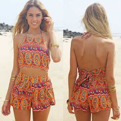 Cheap sunflower print jumpsuits, Buy Quality playsuit shorts directly from China shorts romper Suppliers: Women Sexy Vintage Straps Sunflower Print Jumpsuits Hot Pants Playsuit Shorts Rompers lady Floral Backless Frenum Chiffon Pant Short Playsuit, Short Jumpsuit, Playsuit Romper, Boho Romper, Chiffon Pants, Floral Chiffon, Chiffon Fabric, Chiffon Material, Federal