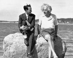 Albert Einstein and a friend in Long island, 1939.