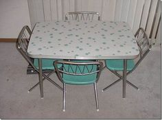Retro Dinette Set #kitchen #vintage #aqua #table #chairs