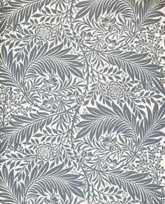 Specimen of 'Larkspur' wallpaper, a foliate design with flowers, blue on a pale ground; Block-printed in distemper colours, on paper; Designed by William Morris; Published by Morris & Co. Printed by Jeffrey & Co. William Morris Wallpaper, William Morris Art, Morris Wallpapers, Textiles, Textile Patterns, Textile Design, Print Patterns, Design Art, Fabric Wallpaper