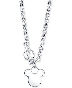 Disney Mickey Mouse Pendant Necklace in Sterling Silver - Necklaces - Jewelry & Watches - Macy's