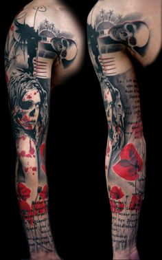red, black grey tattoo sleeve