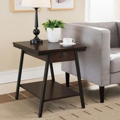 Empiria Modern Industrial Drawer End Table Brown - Leick Home Contemporary End Tables, Modern End Tables, Contemporary Style, End Tables With Drawers, End Tables With Storage, Quality Furniture, Modern Furniture, Metal Furniture, Mission Style End Tables
