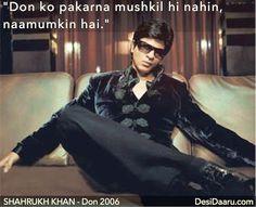 'Don Ko Pakadna Mushkil Hi Nahi Namumkin Hai' #shahrukhkhan #bollywood #don #indian #cinema #movie #don #dialogue