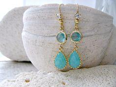 Mint & Aqua Glass Gemstone Earrings With Rhinestone Ear Wires, Mint Blue Earrings, Mint Beach Wedding, Aqua Earrings, Mint Aqua Jewellery by LetItBeLove on Etsy