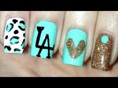 How To: Fun LA manicure (turquoise and gold mix nails)