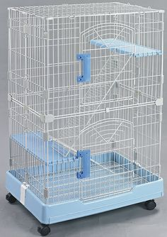 Homey Pet-3 and 1 Tiers Chinchilla Hamster Rat Ferret Cage with Sleeping Platform, Pull out tray, Urine Guard and Lockable Casters, L26'x W17'x H38'(3 Tiers) and L26'x W17'x H21'(1 Tier), Pink/Blue/Brown -- More info could be found at the image url.