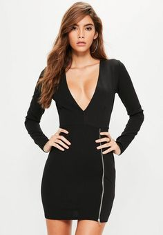 Take the plunge and treat your wardrobe to a new lbd - this black bodycon dress is at the top of our lust have list, featuring a plunging neckline and zip details.