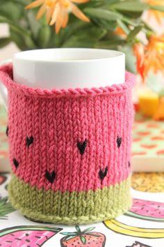 12 free knitting patterns for beginners: watermelon mug cozy on LoveKnitting