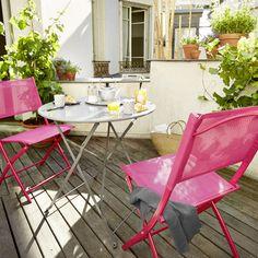 Chaise de jardin en métal Saba rose shocking - CASTORAMA 2x15€