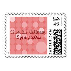 Mod Red Polka Dot Baby Shower Stamps