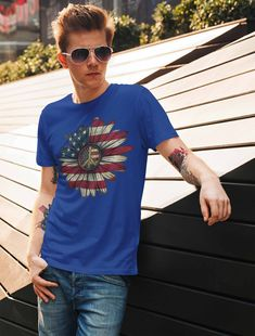 New Proud American Patriotic Boys Blue Graphic T-Shirt America
