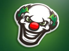 Clown Head mascot graphic by Marko Berovic Sports Decals, Sports Logo, Game Logo Design, Best Player, Cool Logo, Cool Things To Make, Logos, Drawings, Skulls