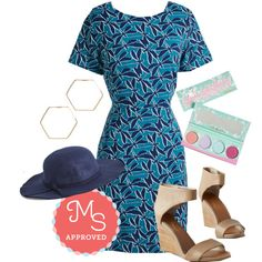 In this outfit: Build the Buzz Dress, Going, Going, Hexagon Earrings, Gleam Girls Eyeshadow Palette, Topper the Morning Hat, Auburn Wedge #cute #dresses #outfits #wedges #summer #hats #ModCloth #ModStylist #fashion