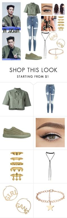 """gotta be electric⚡️ // im jaebum"" by ohmy-fangirl ❤ liked on Polyvore featuring Equipment, Topshop, Vans, Luv Aj and BP."