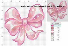 Ribbon bow Cross Stitch Baby, Cross Stitch Flowers, Cross Stitch Kits, Cross Stitch Charts, Cross Stitch Designs, Cross Stitch Patterns, Loom Patterns, Beading Patterns, Crochet Patterns