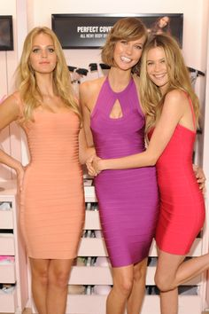 who doesn't love a hot bandage dress? Erin Heatherton, Karlie Kloss, and Behati Prinsloo all rocked bandage dresses in different colors at the Victoria's Secret Body by Victoria launch in NYC. Karlie Kloss, Ange Victoria Secret, Victoria Secret Store, Victoria Secrets, Erin Heatherton, Behati Prinsloo, Soho, Sheer Dress, Bodycon Dress