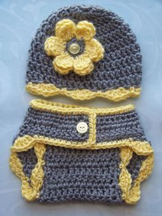 Crochet Baby Diaper Cover Hat Set, Newborn Diaper Cover, Infant Diaper Cover Set, Children, Gray - Yellow, Photo Prop, Gift:
