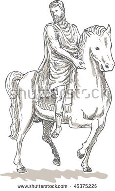 vector hand sketched drawing illustration of a Roman emperor general or soldier riding horse #emperor #sketch #illustration