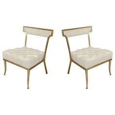 Hollywood Regency Pair of White Leather and Brass Chairs by Billy Haines | From a unique collection of antique and modern slipper chairs at https://www.1stdibs.com/furniture/seating/slipper-chairs/