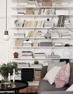 statement white bookshelves
