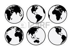 Seis Globos de la tierra del vector en blanco y negro Foto de archivo