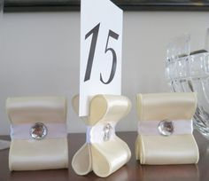 Table Number Holders - Wedding Decor - Set of Ten (10) with Ivory and & DIY Table Numbers + Holders | Table number stands Table numbers ...