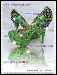 New Women High Heel Swarovski Crystals Peacock by linajoyce, $268.00